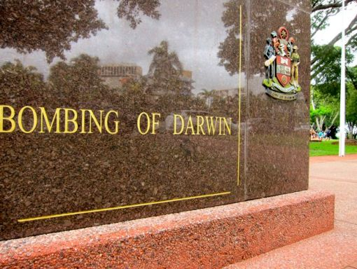 Commemorating the Bombing of Darwin.  Cenotaph on the Esplanade.