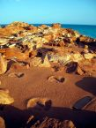 Dinosaur footprints. Gantheaume Point. Minyirr (Broome) Western Australia.